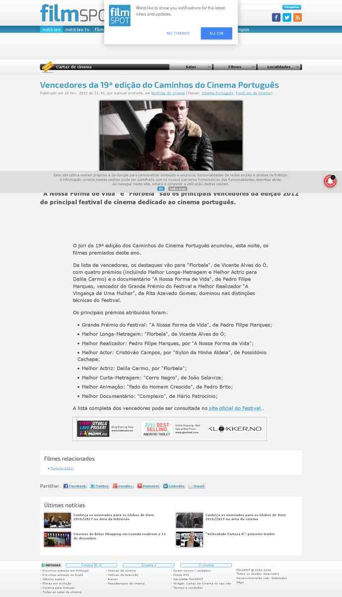 Vencedores da 19ª edição do Caminhos do Cinema Português | filmspot