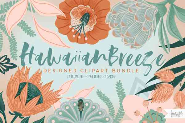 Hawaiian Breeze Clipart and Patterns