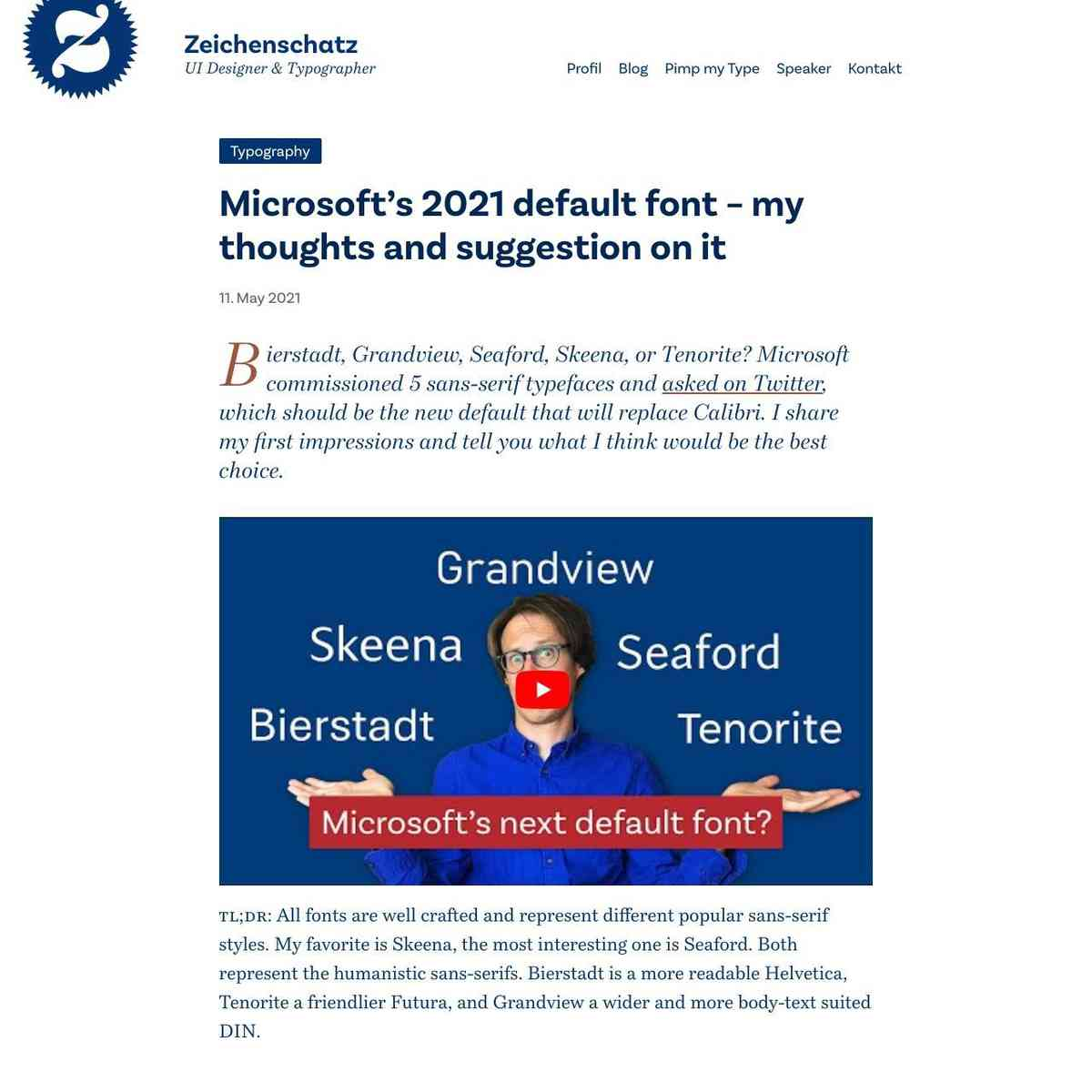Microsoft's 2021 default font – my thoughts and suggestion on it – Zeichenschatz
