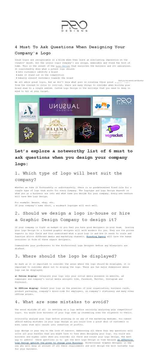 4 Must To Ask Questions When Designing Your Company's Logo