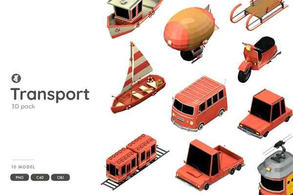 $ Transportation 3D object pack