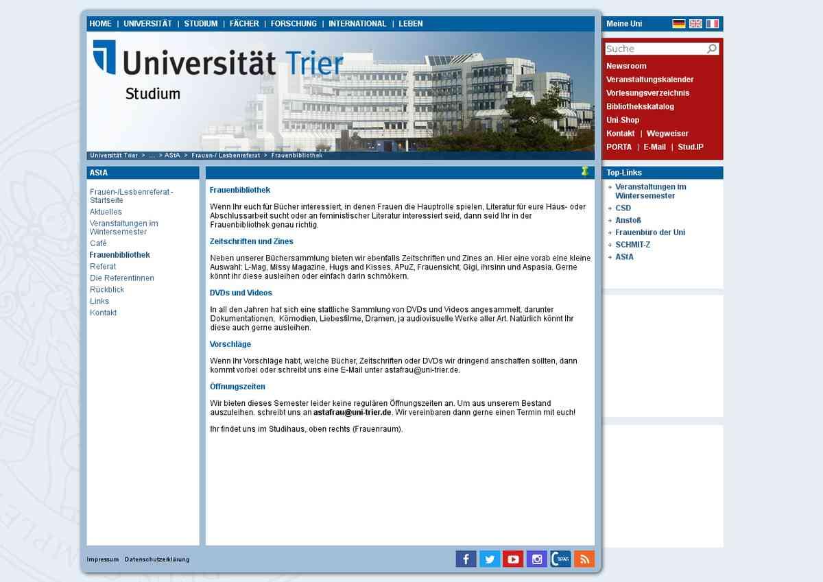 Universität Trier: Frauenbibliothek
