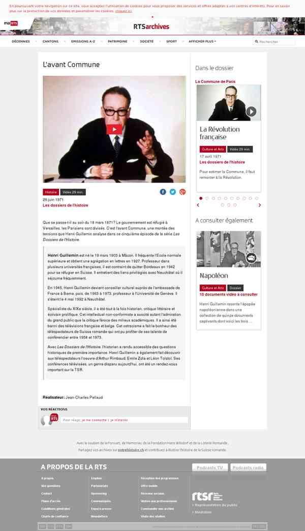 L'avant Commune - rts.ch - Les dossiers de l'histoire