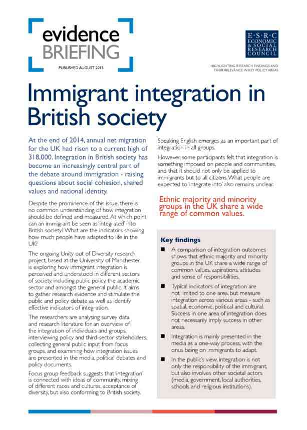 Immigrant Integration in British Society