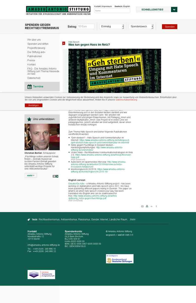 Hate Speech ~ Amadeu Antonio Stiftung