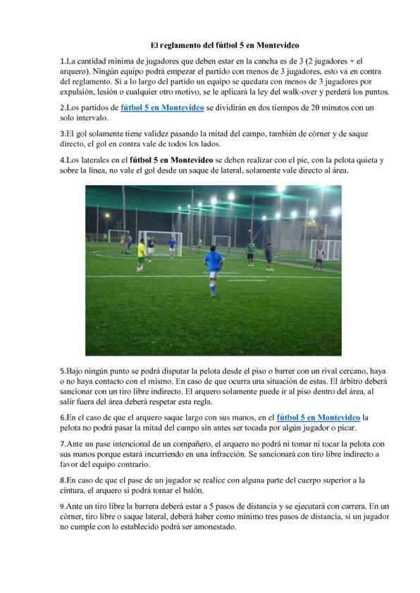 El reglamento del fútbol 5 en Montevideo