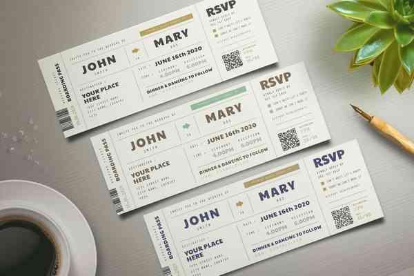 $ Boarding Pass Wedding Invitation