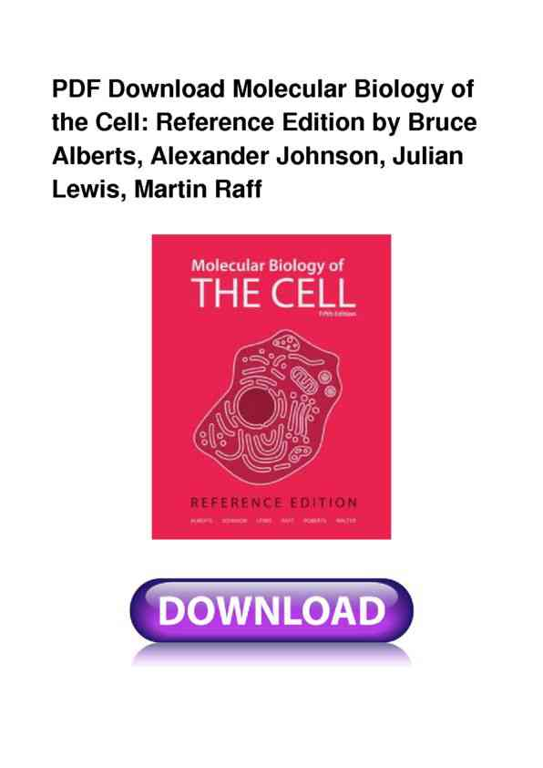 Full Book Molecular Biology Of The Cell Reference Edition Pdf