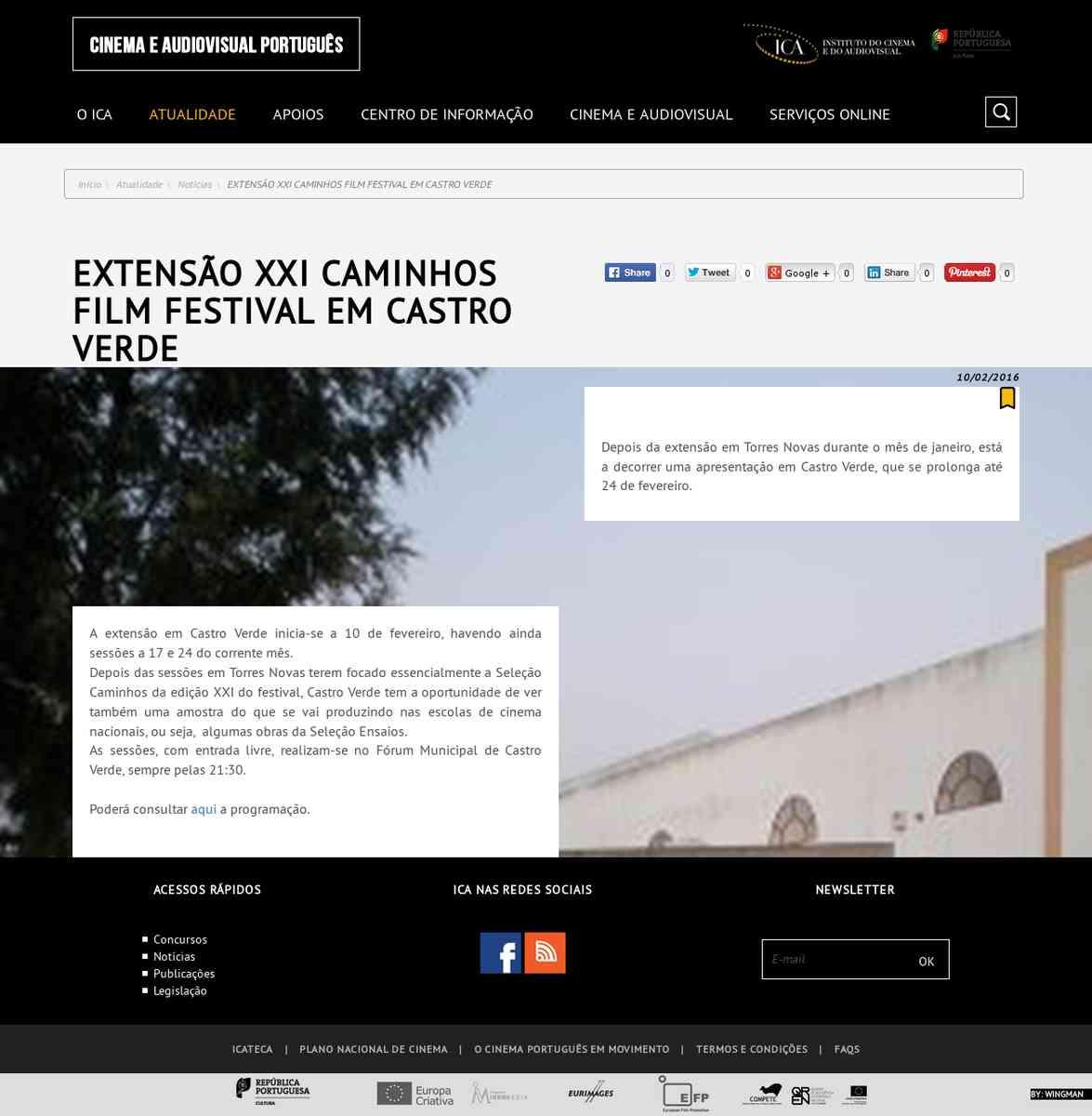 Extensão XXI Caminhos Film Festival em Castro Verde   Instituto do Cinema e do Audiovisual