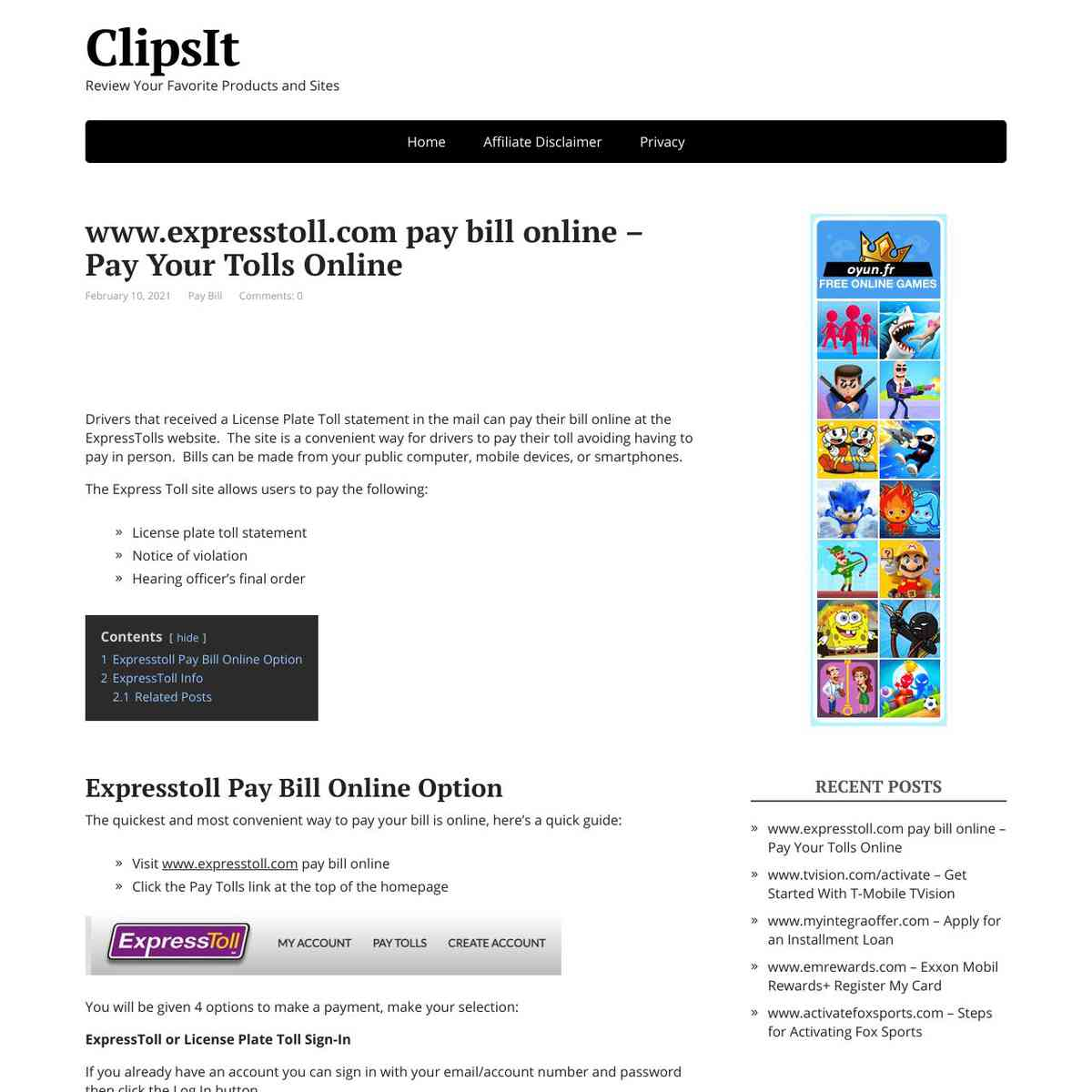 Express Tolls Pay Bill Online