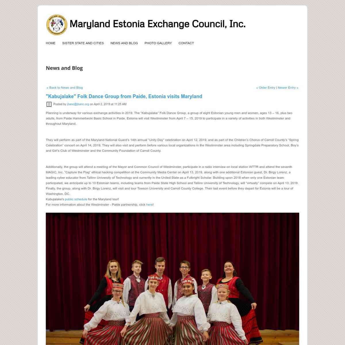 Folk Dance Group from Paide, Estonia visits Maryland