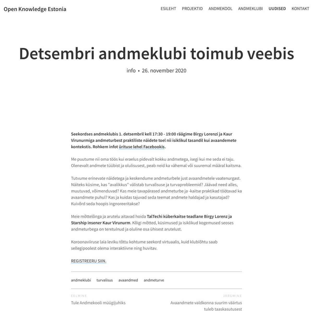 Detsembri andmeklubi toimub veebis – Open Knowledge Estonia
