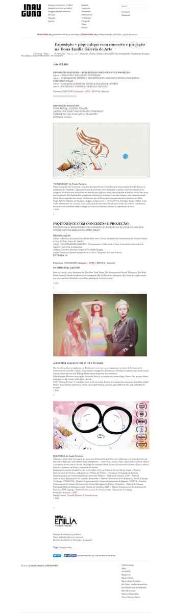 Exposição + piquenique com concerto e projeção na Dona Emília Galeria de Arte | INAUGURO