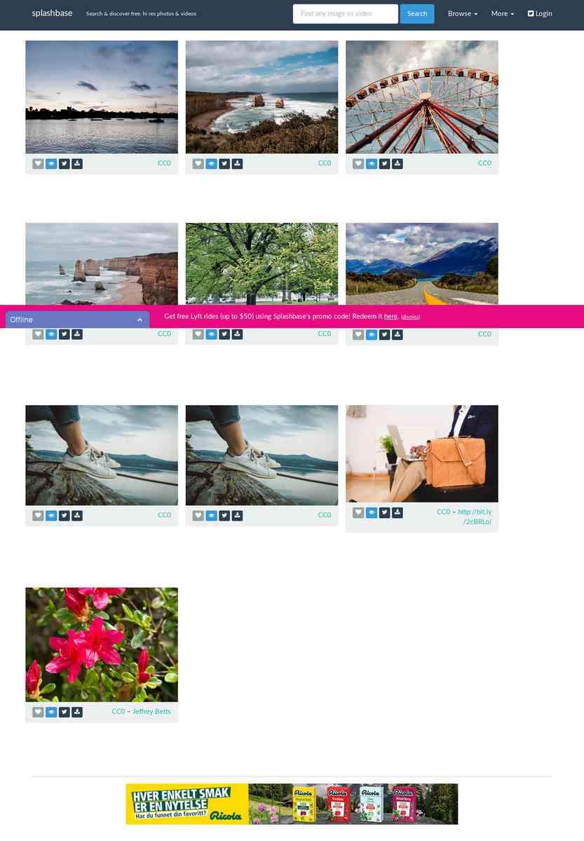 splashbase: find free, public domain, hi res photos