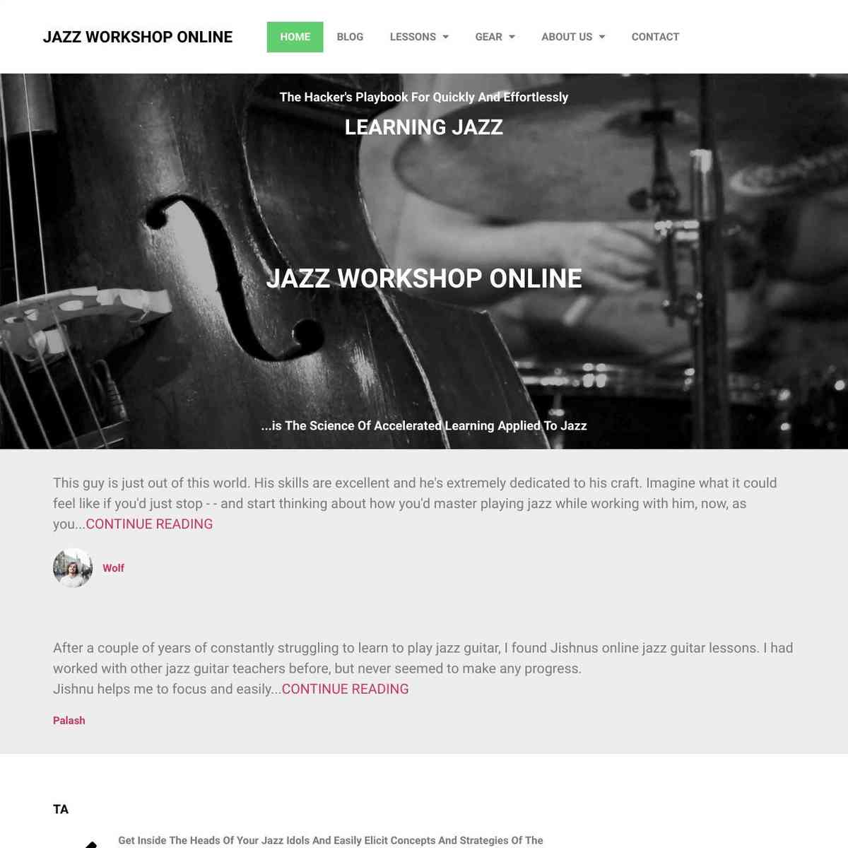 JAZZ WORKSHOP ONLINE WEBSITE