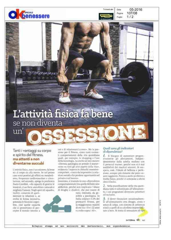 L'attvità fisica fa bene se non diventa un'ossessione - 05/2016