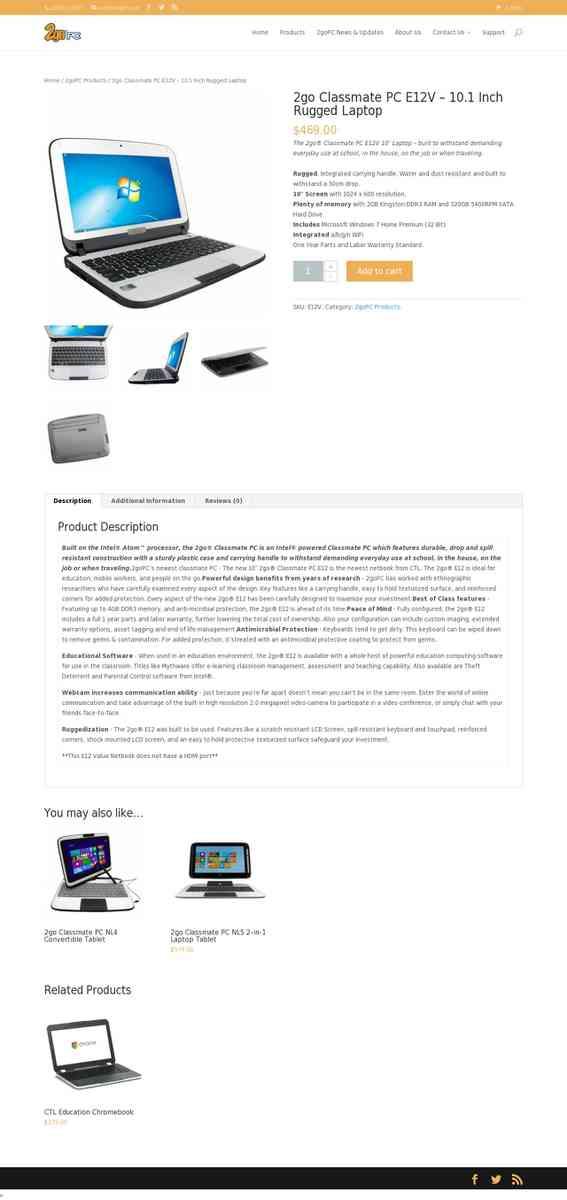 2go Classmate PC E12V – 10 1 Inch Rugged Laptop | 2goPC by CTL - Com
