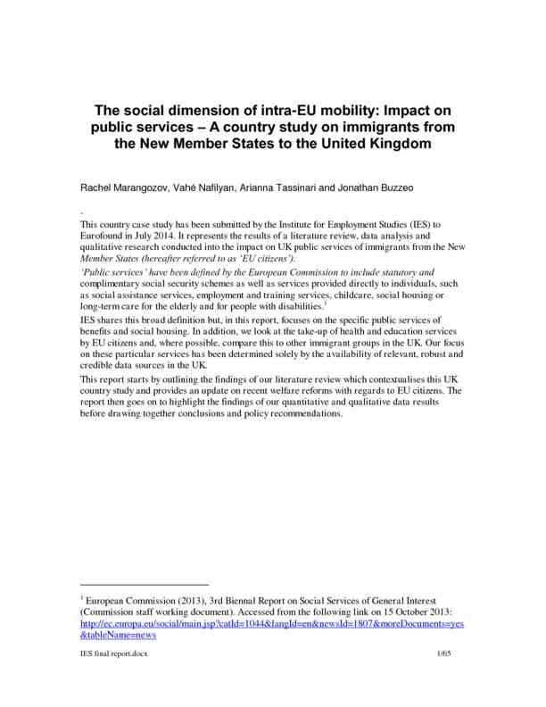 The social dimension of intra-EU mobility: Impact on public services – A country study on immigra…