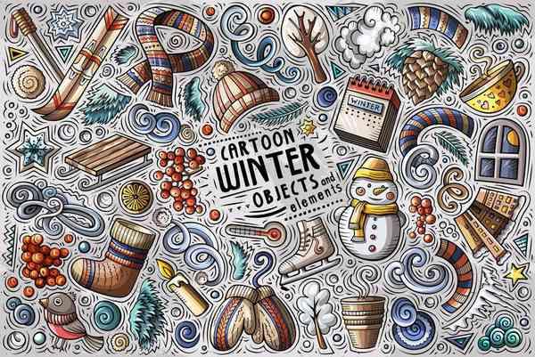 Winter Season Cartoon Objects Set
