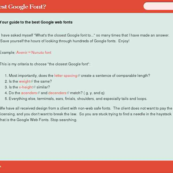 Your guide to the best Google web fonts | Whats the Closest