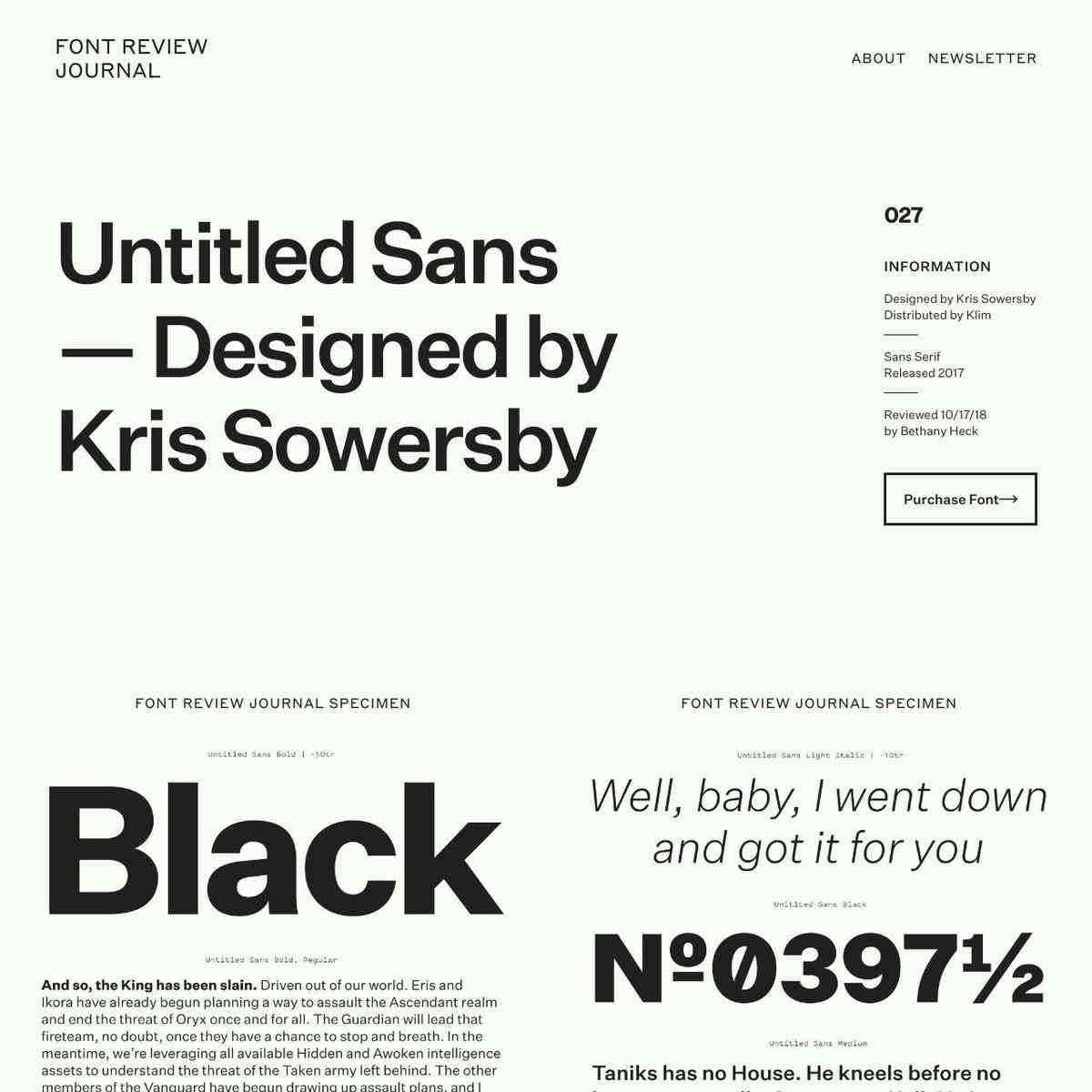 Untitled Sans – Font Review Journal
