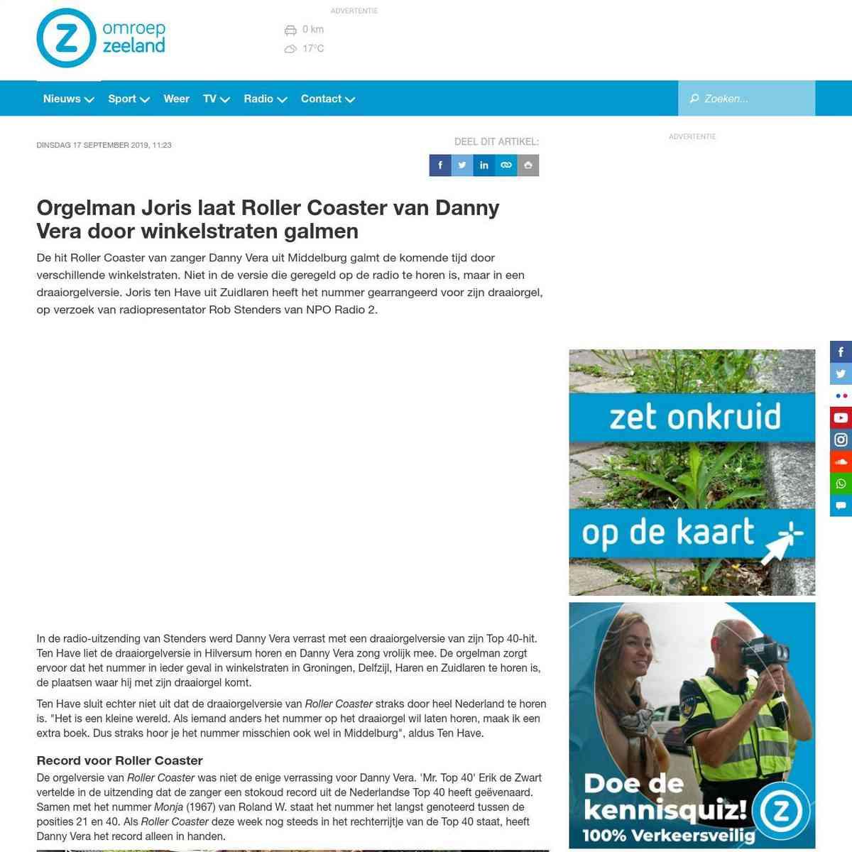 omroepzeeland.nl/nieuws/115296/Orgelman-Joris-laat-Roller-Coaster-van-Danny-Vera-door-winkelstraten…