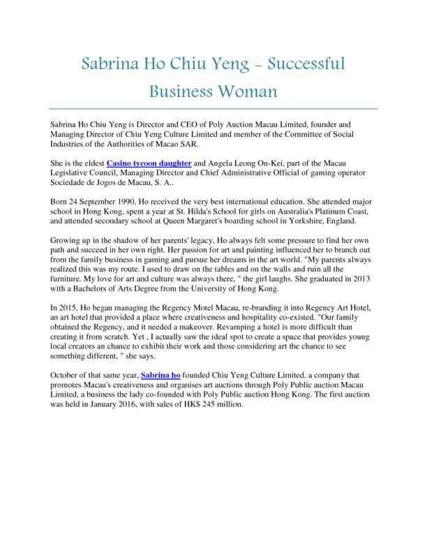 Sabrina Ho Chiu Yeng - Successful Business Woman