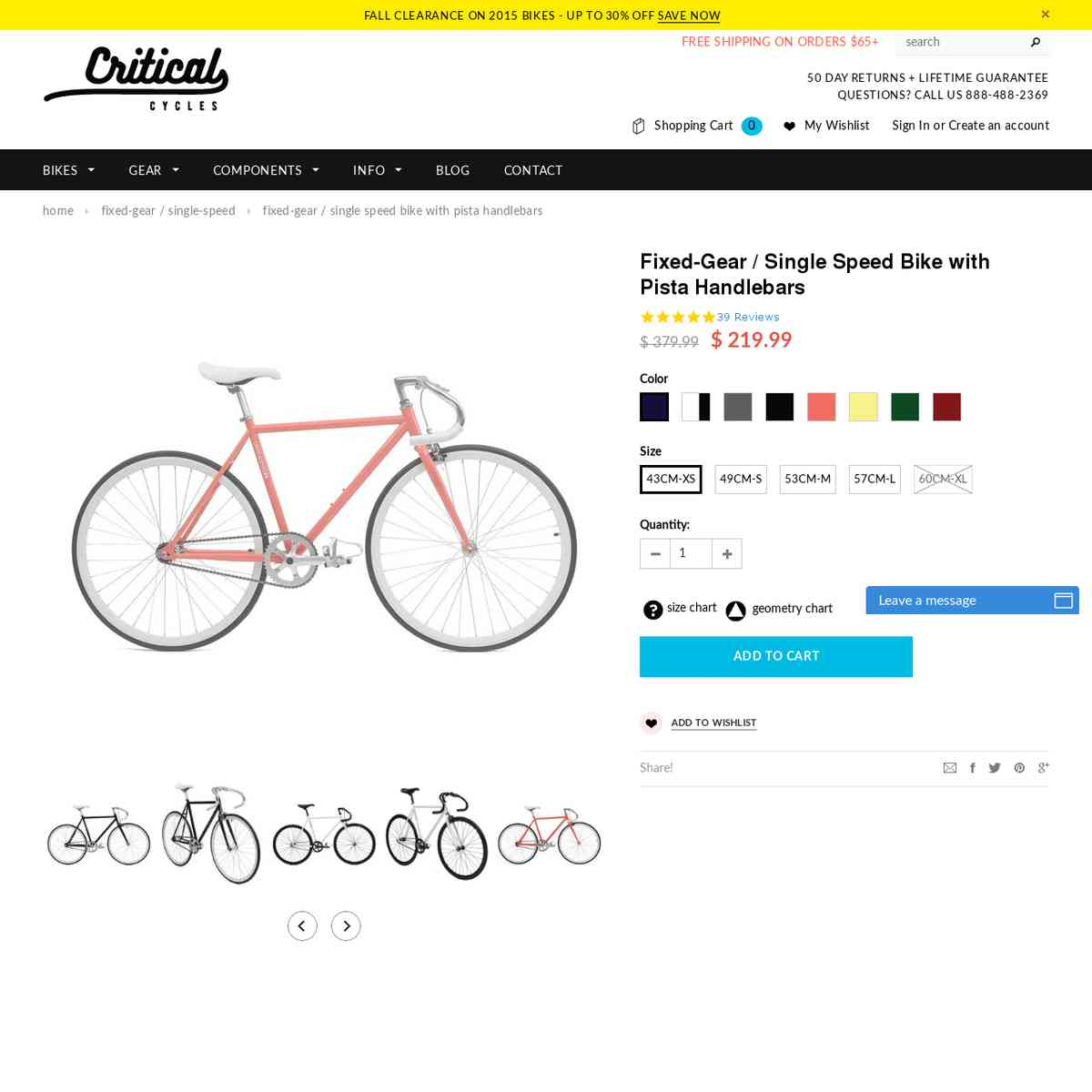 Fixed-Gear / Single-Speed Bikes with Pista Handlebars | Critical Cycles