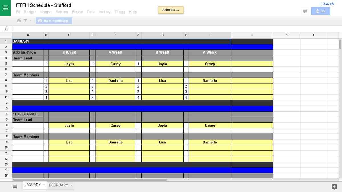 FTFH Schedule
