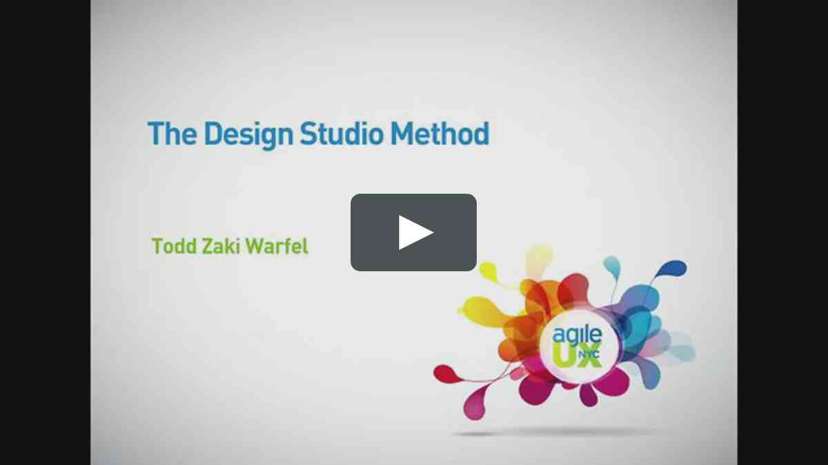 The Design Studio Method - Todd Zaki Warfel on Vimeo