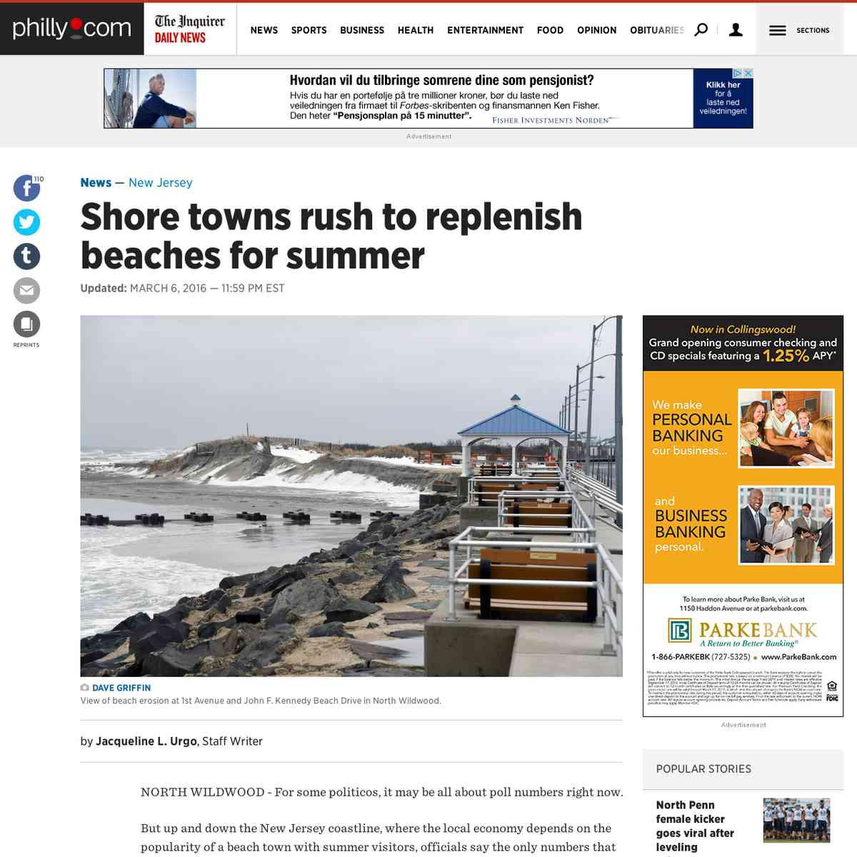 Shore towns rush to replenish beaches for summer
