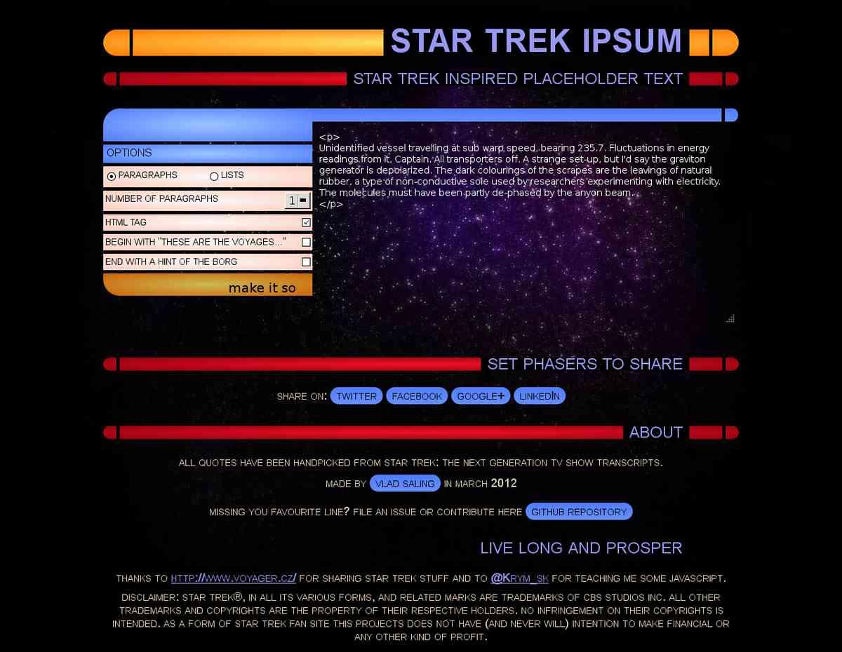 Star Trek Ipsum