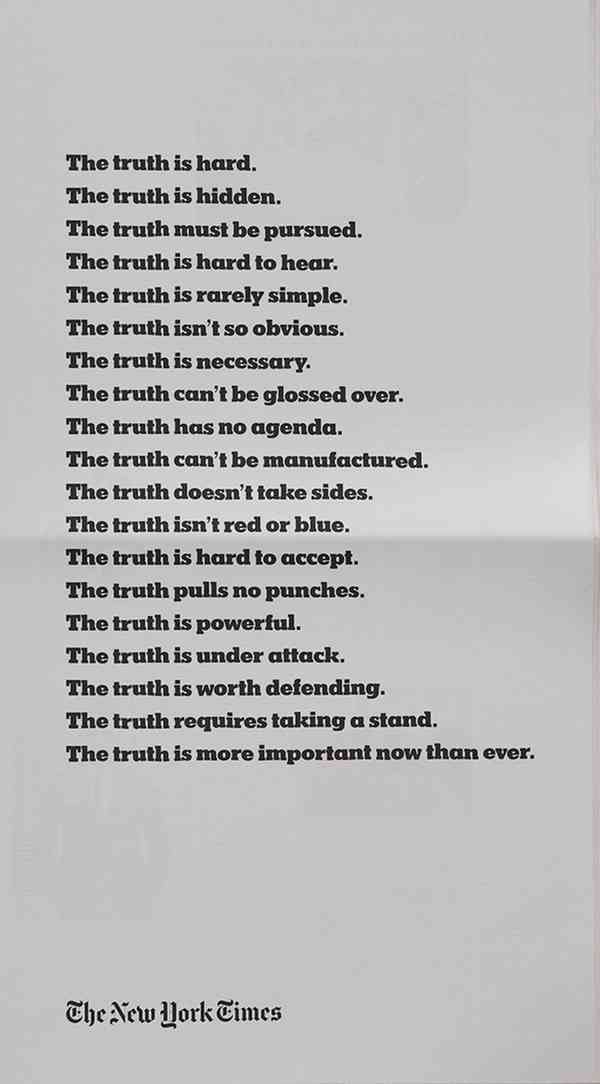 The New York Times ad campaign: The Truth Is Hard - Fonts In Use