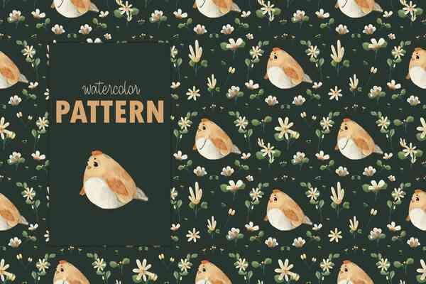 $ Watercolor Animal and flower seamless pattern