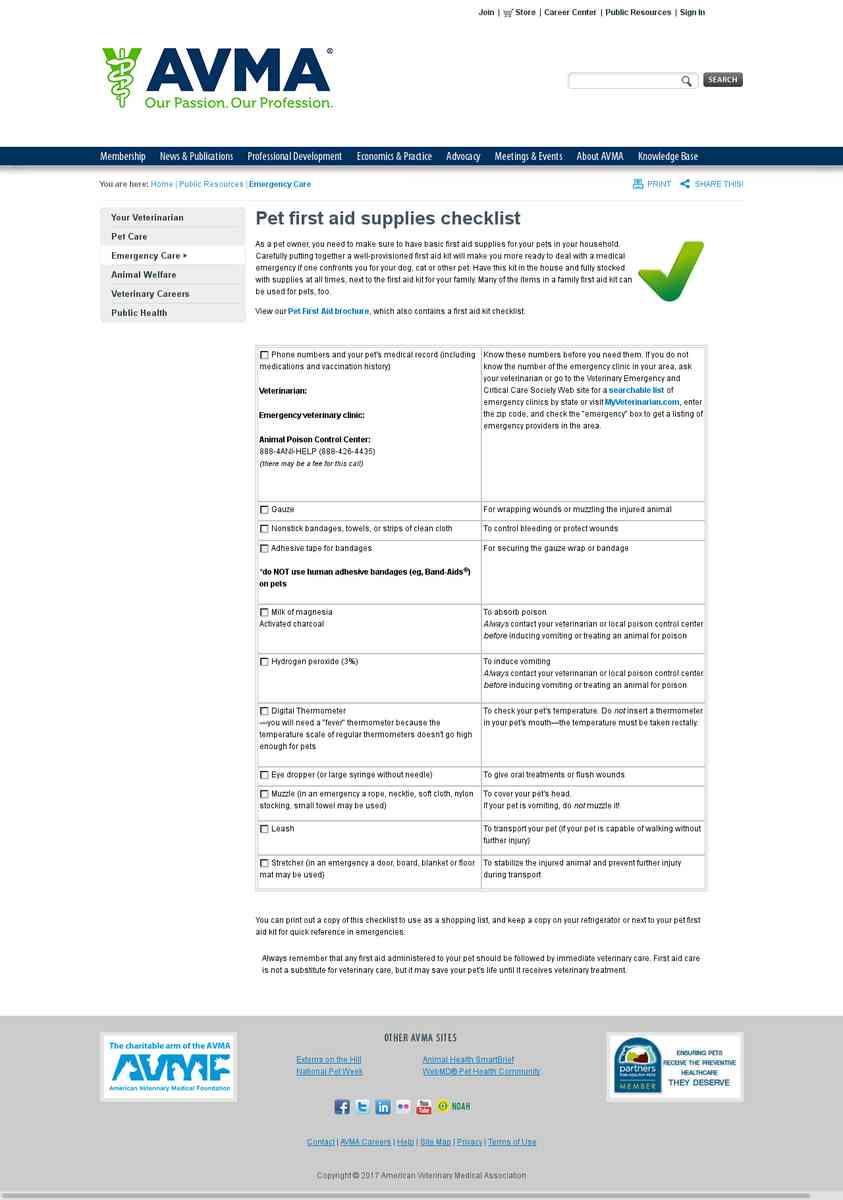 AVMA: Pet First Aid Supplies Checklist