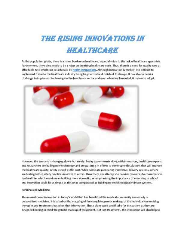 The Rising Innovations in Healthcare