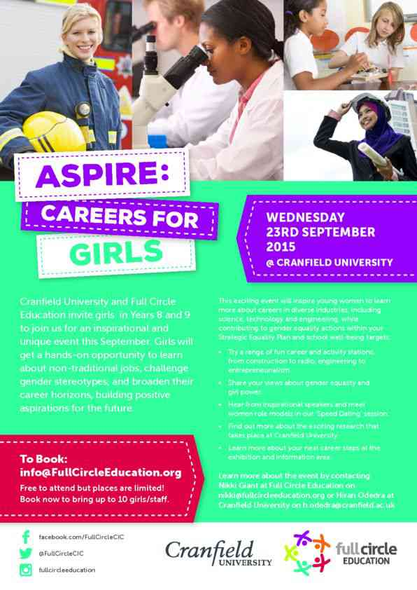 Aspire - Careers for Girls Event Flyer