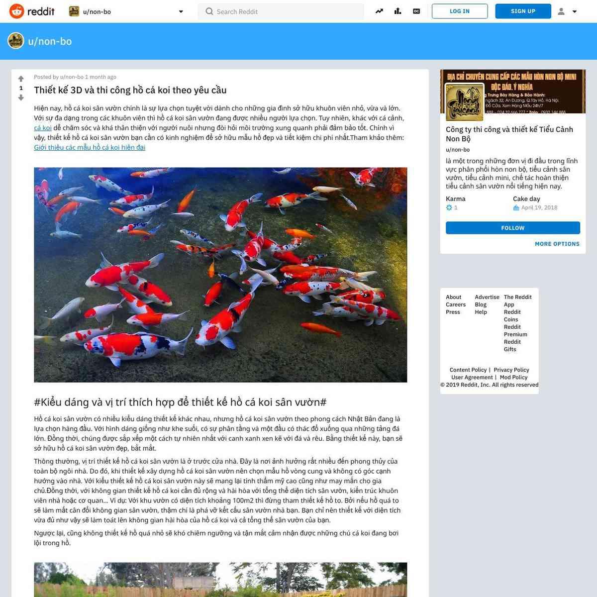 Thiết kế 3D và thi công hồ cá koi theo yêu cầu : non-bo