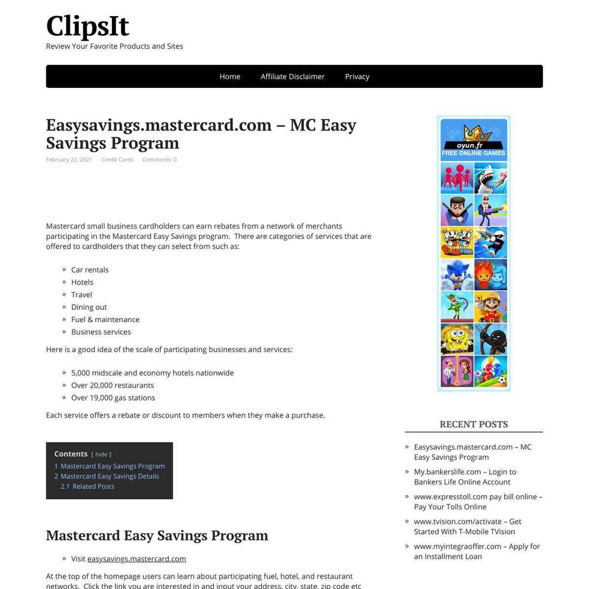 Easy Savings Mastercard Program