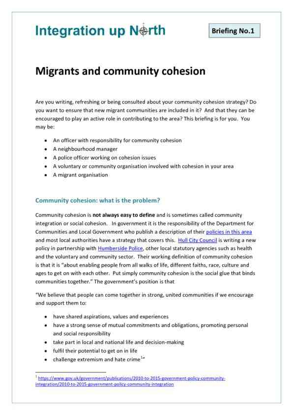 Briefing 1 - Migrants and Community Cohesion