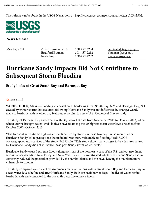 Hurricane Sandy Impacts Did Not Contribute to Subsequent Storm Flooding