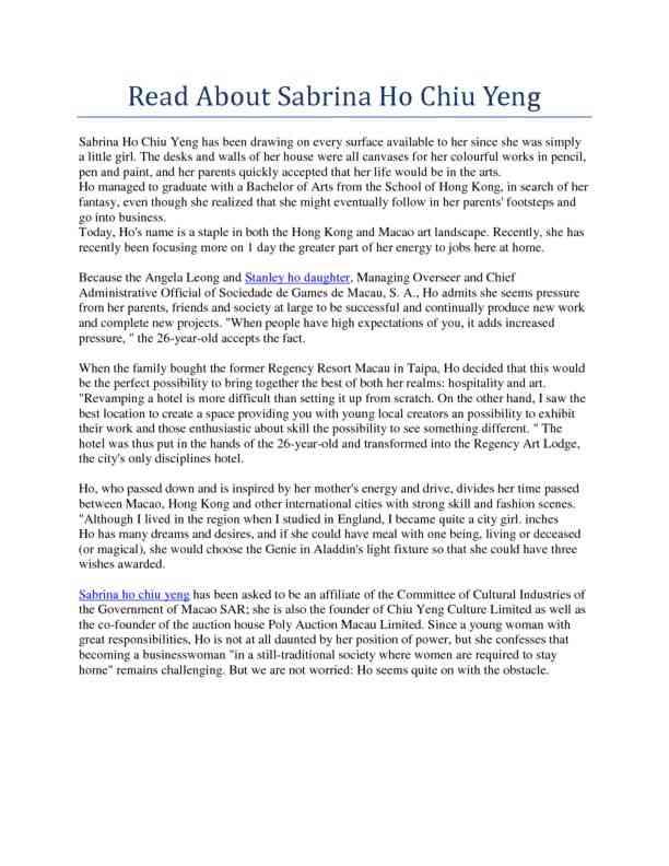 Read About Sabrina Ho Chiu Yeng