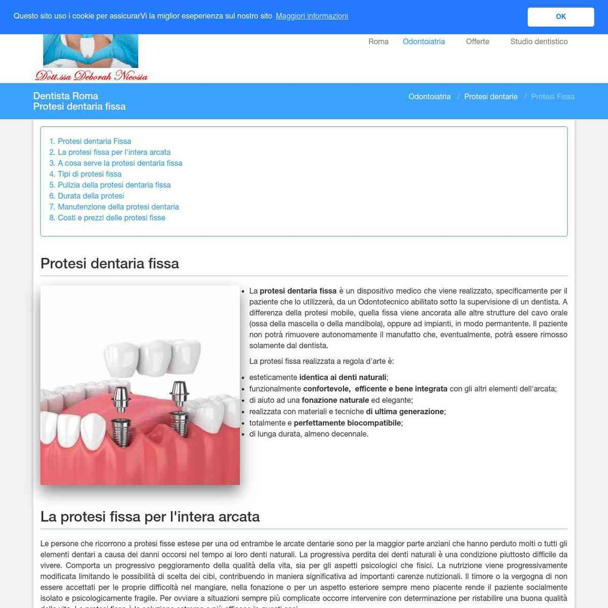 Protesi dentaria fissa - Dentista Roma