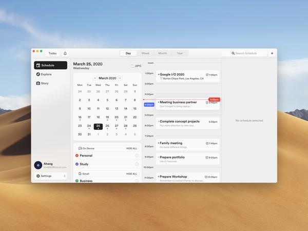Calendar Concept Application (macOS)