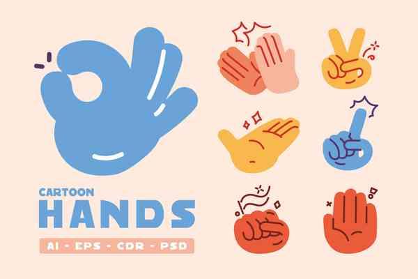 $ Cartoon Doodle Hands Gestures