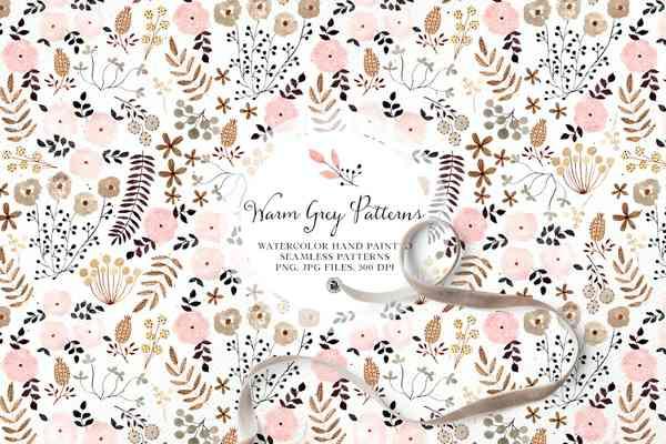 Warm Grey Watercolor Floral Patterns Set