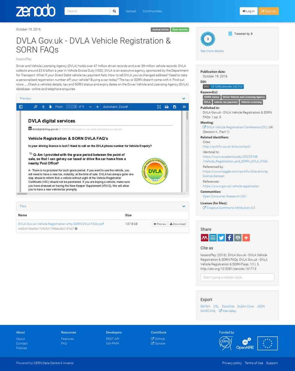 DVLA Gov uk - DVLA Vehicle Registration & SORN FAQs   Zenodo