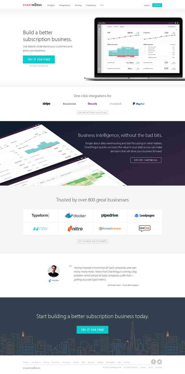 ChartMogul | Subscription reporting & analytics for Stripe, Braintree, Recurly, Chargify & PayPal