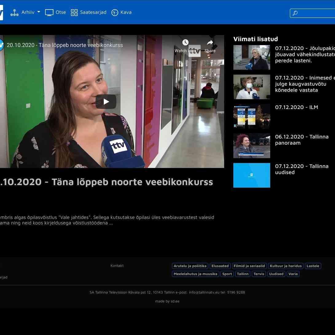 20.10.2020 - Täna lõppeb noorte veebikonkurss | Tallinna TV