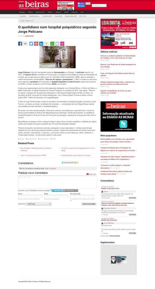 O quotidiano num hospital psiquiátrico segundo Jorge Pelicano | Diário As Beiras